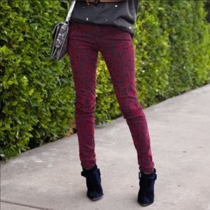 J Brand Maria Red Brocad Jeans